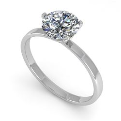 0.50 CTW Certified VS/SI Diamond Engagement Ring Martini 18K White Gold - REF-95K6W - 32223