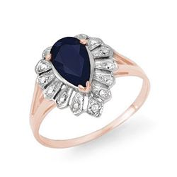 1.12 CTW Blue Sapphire & Diamond Ring 18K Rose Gold - REF-25F8N - 13552