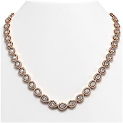 33.08 CTW Pear Diamond Designer Necklace 18K Rose Gold - REF-6137W3F - 42732