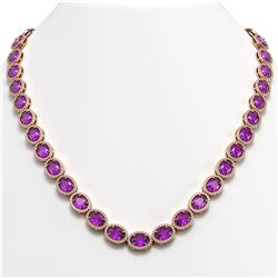 45.16 CTW Amethyst & Diamond Halo Necklace 10K Rose Gold - REF-560W2F - 40593