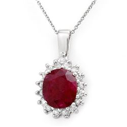 3.70 CTW Ruby & Diamond Pendant 14K White Gold - REF-56A5X - 13830