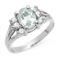 1.43 CTW Aquamarine & Diamond Ring 18K White Gold - REF-45H5A - 14410