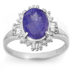 3.03 CTW Tanzanite & Diamond Ring 18K White Gold - REF-81K8W - 14462