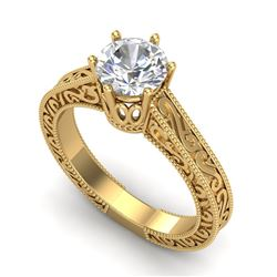 1 CTW VS/SI Diamond Solitaire Art Deco Ring 18K Yellow Gold - REF-330Y2K - 36928