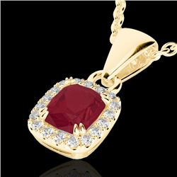 1.25 CTW Ruby & Micro Pave VS/SI Diamond Halo Necklace 10K Yellow Gold - REF-30N4Y - 22889