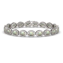 9.5 CTW Opal & Diamond Halo Bracelet 10K White Gold - REF-251W8F - 40466