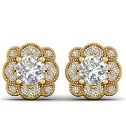 1.5 CTW Certified VS/SI Diamond Art Deco Stud Earrings 14K Yellow Gold - REF-196F2N - 30515