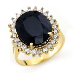 14.10 CTW Blue Sapphire & Diamond Ring 14K Yellow Gold - REF-150A9X - 13113