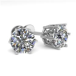 2.0 CTW Certified VS/SI Diamond Stud Solitaire Earrings 18K White Gold - REF-490T4M - 35844