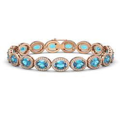 24.32 CTW Swiss Topaz & Diamond Halo Bracelet 10K Rose Gold - REF-252A8X - 40635