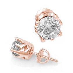 2.0 CTW Certified VS/SI Diamond Solitaire Stud Earrings 14K Rose Gold - REF-480H8A - 11161