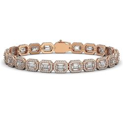 16.72 CTW Emerald Cut Diamond Designer Bracelet 18K Rose Gold - REF-3553K8W - 42753