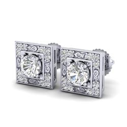 1.63 CTW VS/SI Diamond Solitaire Art Deco Stud Earrings 18K White Gold - REF-254M5H - 37268