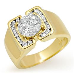 2.08 CTW Certified Diamond Men's Ring 10K Yellow Gold - REF-510K2W - 13469