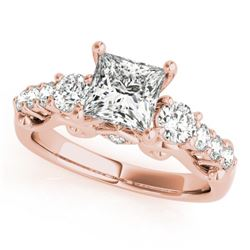 1.5 CTW Certified VS/SI Diamond 3 Stone Princess Cut Ring 18K Rose Gold - REF-292F5N - 27994