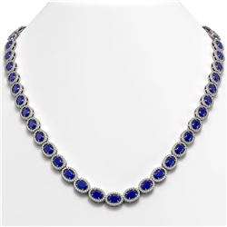 34.11 CTW Sapphire & Diamond Halo Necklace 10K White Gold - REF-537F5N - 40406