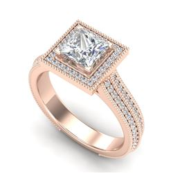2 CTW Princess VS/SI Diamond Solitaire Micro Pave Ring 18K Rose Gold - REF-472A8X - 37182