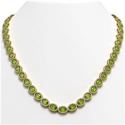 31.1 CTW Peridot & Diamond Halo Necklace 10K Yellow Gold - REF-554F8N - 40429