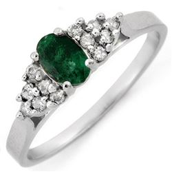 0.74 CTW Emerald & Diamond Ring 14K White Gold - REF-21H3A - 10107