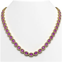 29.38 CTW Amethyst & Diamond Halo Necklace 10K Yellow Gold - REF-503M5H - 40441