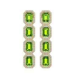 11.98 CTW Peridot & Diamond Halo Earrings 10K Yellow Gold - REF-176A8X - 41455