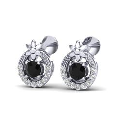 0.47 CTW Black & Micro Pave VS/SI Diamond Halo Solitaire Earrings 18K White Gold - REF-27N5Y - 20048