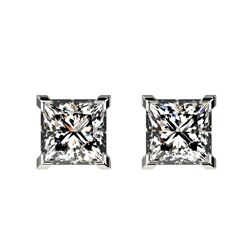 1 CTW Certified VS/SI Quality Princess Diamond Stud Earrings 10K White Gold - REF-147H2A - 33063