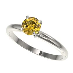 0.76 CTW Certified Intense Yellow SI Diamond Solitaire Engagement Ring 10K White Gold - REF-118N2Y -