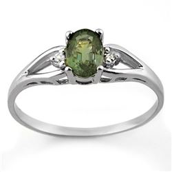 0.77 CTW Green Tourmaline & Diamond Ring 10K White Gold - REF-16Y4K - 11571