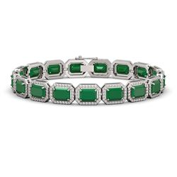26.21 CTW Emerald & Diamond Halo Bracelet 10K White Gold - REF-368W8F - 41378