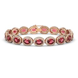 21.71 CTW Tourmaline & Diamond Halo Bracelet 10K Rose Gold - REF-338A9X - 40620