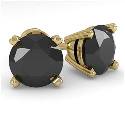 2.0 CTW Black Diamond Stud Designer Earrings 14K Yellow Gold - REF-58T4M - 38375