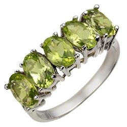 3.0 CTW Peridot Ring 10K White Gold - REF-17Y3K - 10782