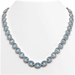 55.41 CTW Sky Topaz & Diamond Halo Necklace 10K White Gold - REF-636T4M - 40583
