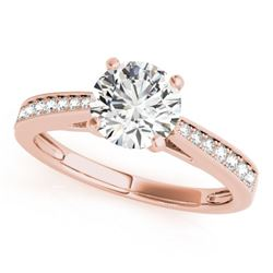 1 CTW Certified VS/SI Diamond Solitaire Wedding Ring 18K Rose Gold - REF-193W3F - 27616
