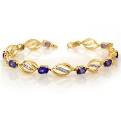 5.60 CTW Tanzanite & Diamond Bracelet 10K Yellow Gold - REF-76T4M - 10495