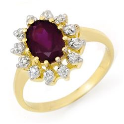1.19 CTW Amethyst & Diamond Ring 10K Yellow Gold - REF-21K8W - 14236