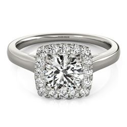 1.37 CTW Certified VS/SI Diamond Solitaire Halo Ring 18K White Gold - REF-393K5W - 26281
