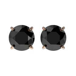 1.50 CTW Fancy Black VS Diamond Solitaire Stud Earrings 10K Rose Gold - REF-35N3Y - 33073