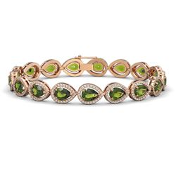 16.93 CTW Tourmaline & Diamond Halo Bracelet 10K Rose Gold - REF-365W8F - 41112