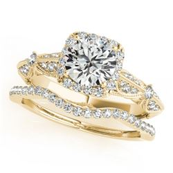 1.54 CTW Certified VS/SI Diamond 2Pc Wedding Set Solitaire Halo 14K Yellow Gold - REF-393F6N - 30959