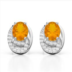 2.50 Citrine & Micro Pave VS/SI Diamond Stud Earrings 10K White Gold - REF-25K6W - 22329