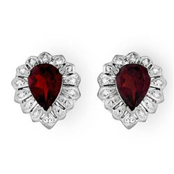 2.20 CTW Garnet Earrings 18K White Gold - REF-28K2W - 13591