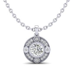 1.01 CTW VS/SI Diamond Solitaire Art Deco Stud Necklace 18K White Gold - REF-221W8F - 36983