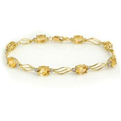 6.02 CTW Citrine & Diamond Bracelet 10K Yellow Gold - REF-34A8X - 10803