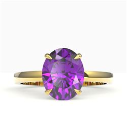2.50 CTW Amethyst Designer Inspired Solitaire Ring 18K Yellow Gold - REF-36K2W - 22050