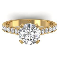 2.4 CTW Certified VS/SI Diamond Solitaire Art Deco Ring 14K Yellow Gold - REF-674K2W - 30443