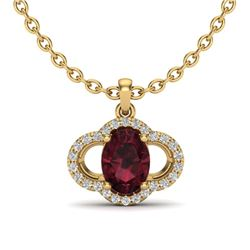 2 CTW Garnet & Micro Pave VS/SI Diamond Necklace 10K Yellow Gold - REF-29Y6K - 20634