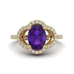 2 CTW Amethyst & Micro Pave VS/SI Diamond Ring 10K Yellow Gold - REF-33T3M - 20971