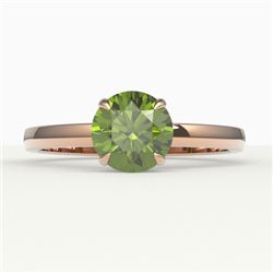 2 CTW Green Tourmaline Designer Inspired Solitaire Engagement Ring 14K Rose Gold - REF-33H6A - 22225